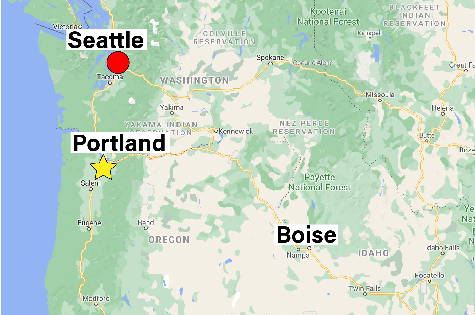 map of areas served by wastexpress - seattle, portland, boise